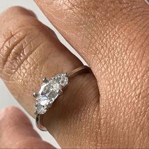 💎5/$40 Rhodium 3 Stone Cubic Zirconia Ring Size 9